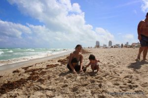 Making Sand Castle at Miami Beach